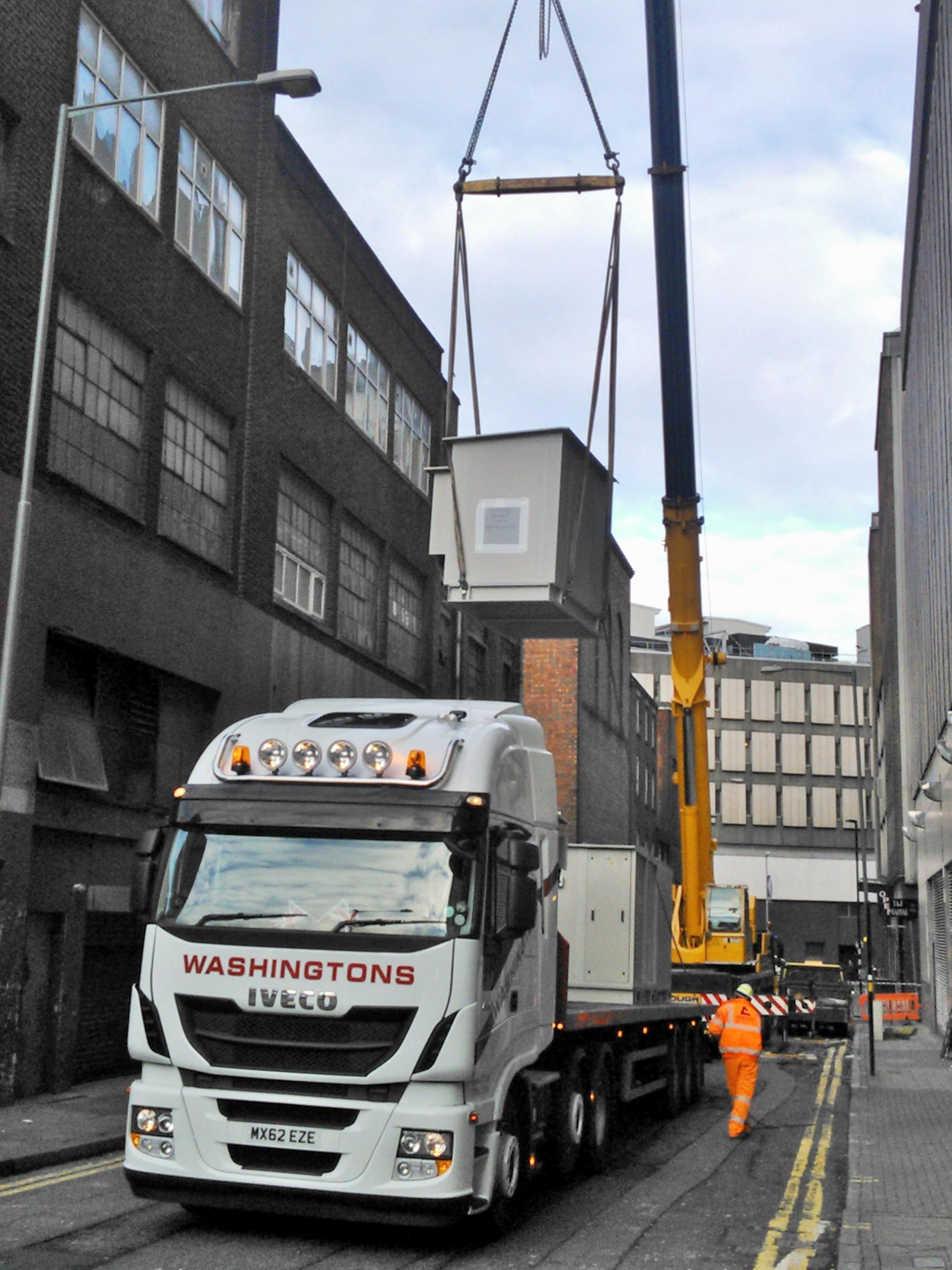 Air Handling Units being craned off in London.