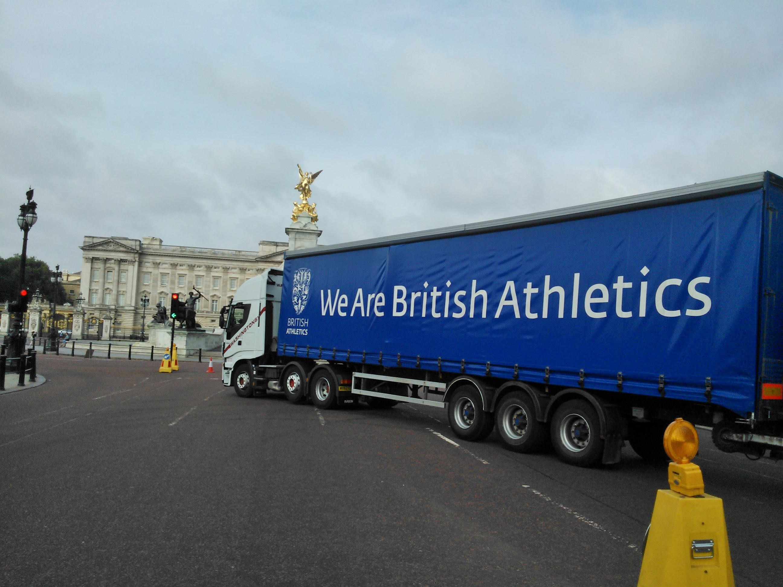 Delivering advertising boards etc for the Inaugural London Anniversary Games, shot taken outside Buckingham Palace.
