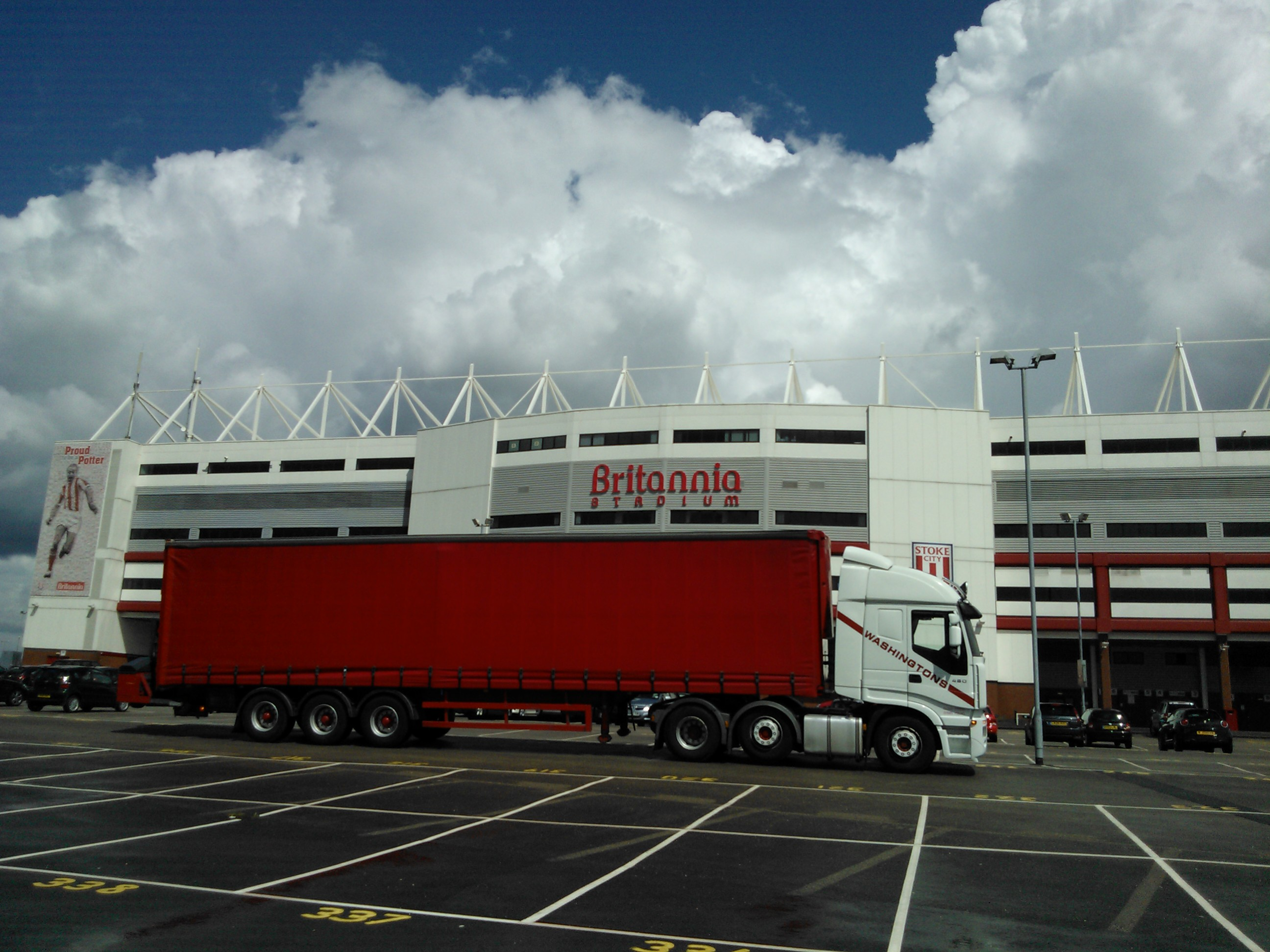 One of our trucks parked Stoke City FC.