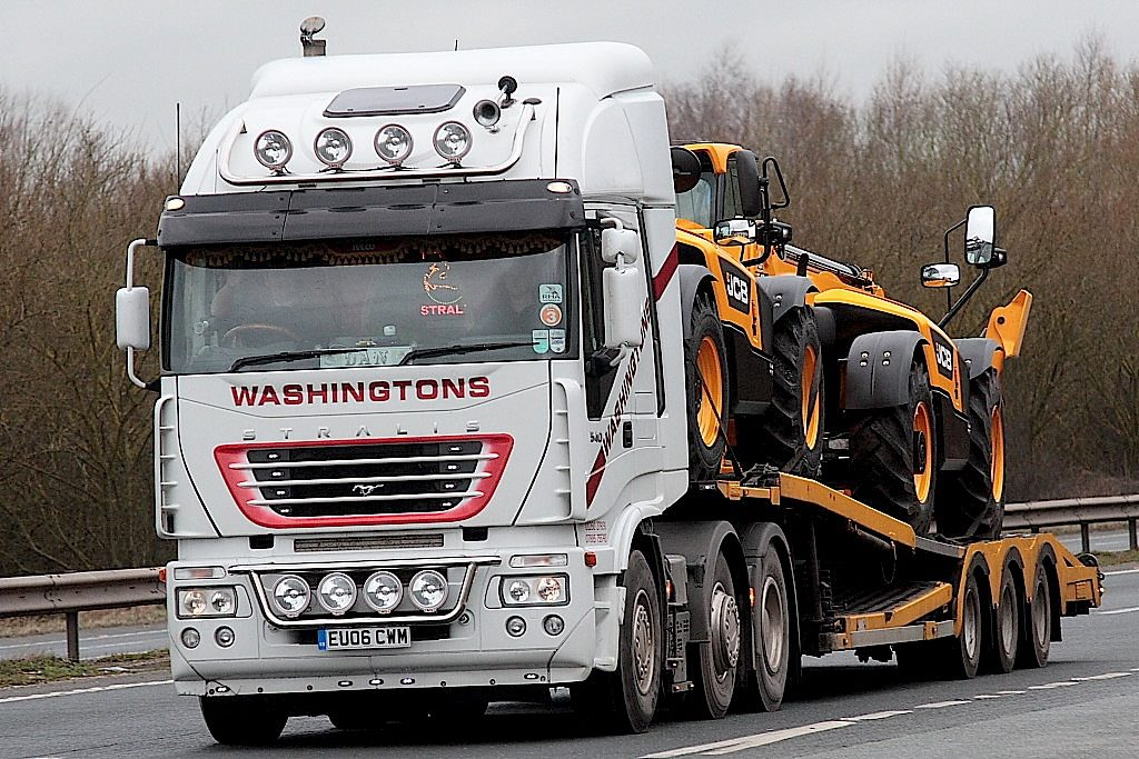 An example of a typical load. Brand new JCB machines 'papped' by a freelance truck photographer.
