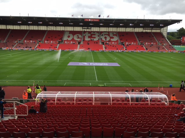 A typical example of an LED perimeter advertising installation, this one  at Premier League Stoke City FC
