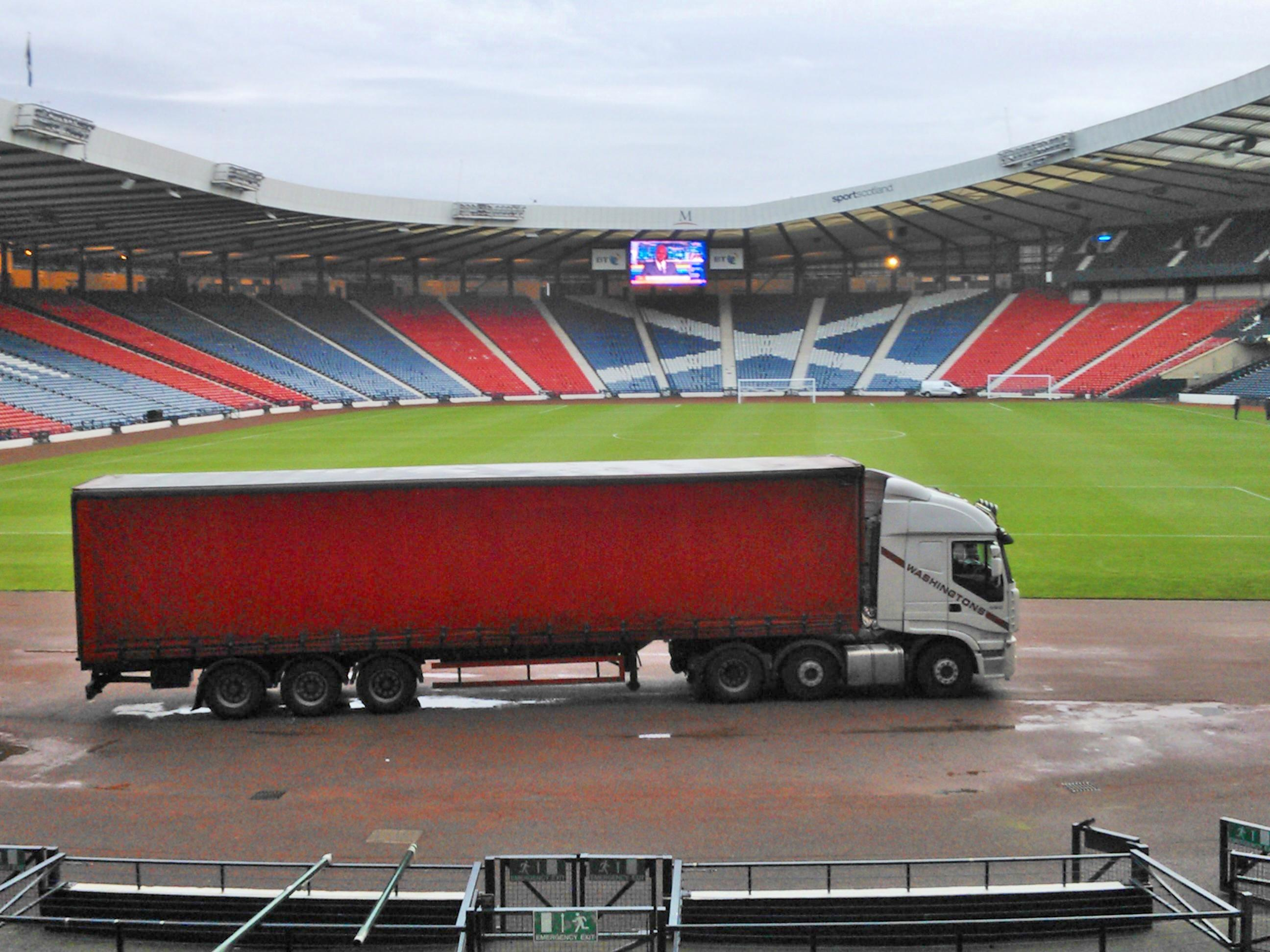 An LED system delivery at Hampden Park Glasgow.