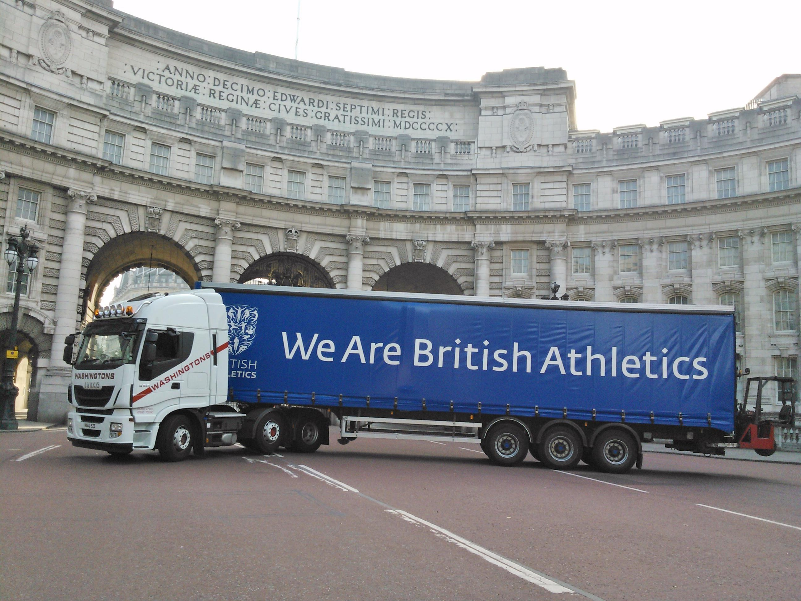 A shot of us delivering for the Inaugural London Anniversary Games, taken next to The Admiralty Arch, London.